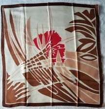 Vintage Clifford Bond 100% Pure Silk Scarf. Brown, Beige and Red Colours