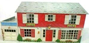 Vintage HTF Large Tin Metal Litho Marx Two Story MCM Dollhouse Miniature House!