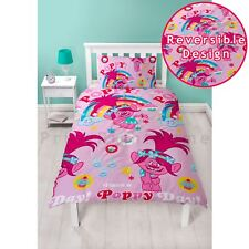 Official Trolls Poppy Dreams Single Duvet Cover Set Childrens Reversible