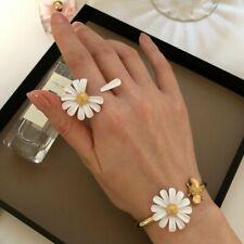Fashion Glaze White Daisy Gold Knuckle Ring Flower Enamel Adjustable Women Gift