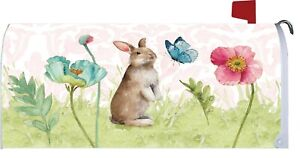 Easter Spring Bunny Butterfly Flower Magnetic Mailbox Cover