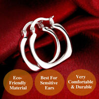 925 Sterling Silver Plated Smooth Comfy Square Flat Round Circle Hoop Earrings