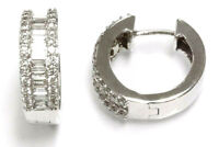 2 ctw Natural Baguette Diamond Solid 14k White Gold Channel Hoop Earrings 16 MM