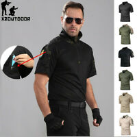 Mens Tactical Combat T-Shirt Short Sleeve Army Military Camouflage Casual Shirts