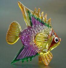 Curio Glass FISH Purple Painted Glass Figure Glass Animal Blown Glass Ornament