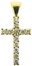 18ct Diamante Croce Pendente 3/4 in. 18carat GIALLO ORO rotondo F VVS1 eccellente