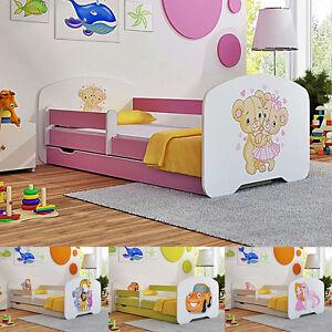 NEU Babybett Kinderbett Jugendbett + Matratze + Lattenrost  Schublade Nachttisch