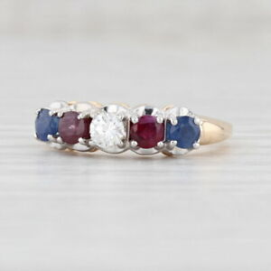 1.13ctw Red Ruby Blue Sapphire White Diamond Ring 14k Yellow Gold Size 6.5