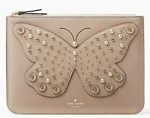 KATE SPADE GIA LARCHMONT AVE BUTTERFLY LEATHER CLUTCH NWT