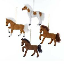 Furry Plastic Horse Ornaments