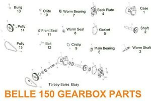 Belle 150 Complete Gearbox  Bearing Seal Gasket Shaft Back plate parts New Spare