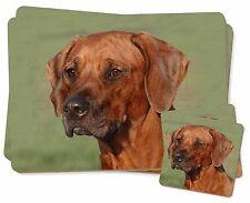 Rhodesian Ridgeback Dog Twin 2x Placemats+2x Coasters Set in Gift Box, AD-RR1PC