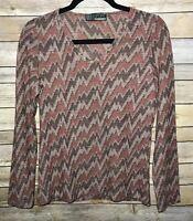 MISSONI Womens Top Large Multi Chevron Wool Sheer Knit Long Sleeve Zig Zag Knit