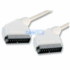 3m Bianco SCART Cavo AV Audio Video Tv Cavo 21 Pin