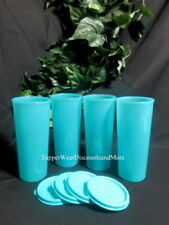 Tupperware NEW Set of 4 16 oz Tropical Blue Stacking Tumblers Cups w/ Flat Seals