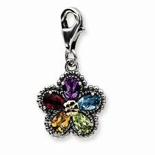 Multi Gemstone Flower Charm .925 Sterling Silver & 14K Gold Accent Amore La Vita