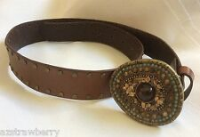 GEMSTONE BUCKLE BROWN GENUINE BONDED LEATHER BELT STUDDED SZ SM