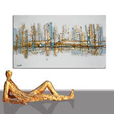 GROSSE GEMÄLDE  ★ BILD KUNST MALEREI GOLD STADT BILDER BERLIN USA ★ 200 x 100