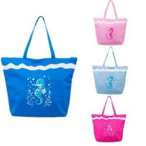 Beach Bag Womens Ladies Large Canvas Travel Tote New Zipper Summer Blue Seahorse