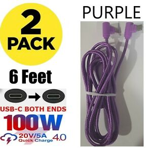 2 PACK 6 FT USB-C to USB-C Braided Type C Data Cable Fast Charger Charging Cord