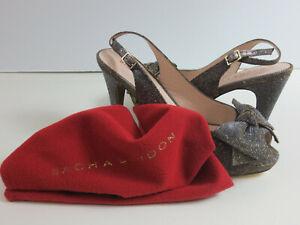 Sacha London Womens Sz 10 Beauty Pumps Silver Iridescent Peep Toe Heels Dust Bag