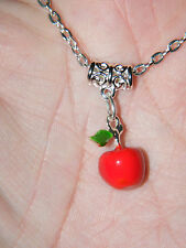"""RED APPLE NECKLACE Teachers Pet Charm! Orchard! Keeps Dr Away 24.5"""" Chain NEW!"""