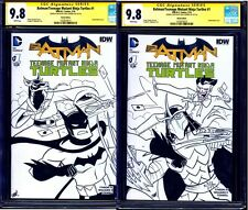 Batman/TMNT #1 BLANK CGC SS 9.8 CONNECTING SKETCH COVER LOT of 2 Chad Thomas
