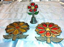 2 Untersetzer Töpfe, Schüsseln u. Tischglocke, Glocke Glas / Metall, Dekoration