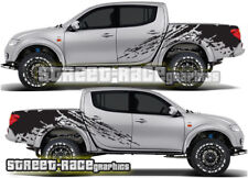 Mitsubishi L200 021 Shredded grunge rally stickers decals graphics rear tub side