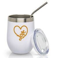 Love Heart Tumbler - Insulated Stainless Steel Stemless Tumbler with Lid & Straw