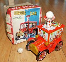 In scatola KO YOSHIYA CIRCUS TRUCK Clockwork BANDA STAGNATA giocattolo C. anni 1960 RARE JAPAN A649