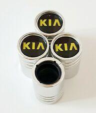 KIA CHROME DUST VALVE CAPS Plastic Inside all Cars 10 colours NON STICK Yel logo