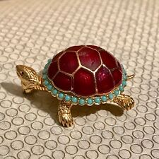 Vintage Ciner Turtle Red Enamel Turquoise Pin Brooch RARE and GORGEOUS! Tortoise