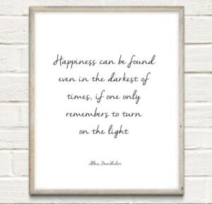 A4 Harry Potter Quote Light Dumbledore Love Typography Print Gift Home UNFRAMED