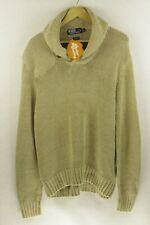 Mens RALPH LAUREN Jumper LINEN CABLE KNIT Sweater PULLOVER Collared XL P95