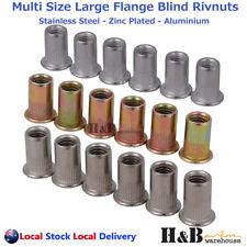 M3 - M12 Large Flange Blinded Nutserts Rivnut Stainless Steel Aluminium Steel