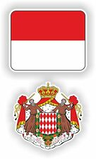 Drapeau MONACO + BLASON 2x autocollants stickers drapeau