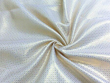 WHITE GOLD METALLIC DOT DIAMOND BROCADE FABRIC WEDDING SCARF AISLE TABLECLOTH