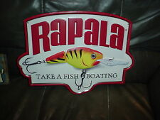LARGE  RAPALA TAKE A FISH BOATING EMBOSSED ADVERTISMENT   METAL SIGN