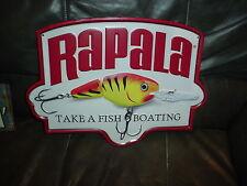 Large Rapala Take A Fish Boating Embossed Advertisment Metal Sign