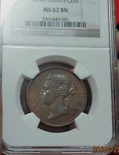 Straits Settlements - 1874h 1 cent NGC MS62 BN (Scarce)