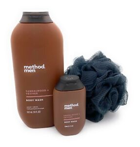 Method Men Body Wash Sandalwood Vetiver 18 Ounce, Travel Size 3.4 and a Loofah