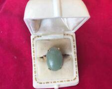 14K Jade Jadeite Large Oval Stone Ring Estate Jade Grade A