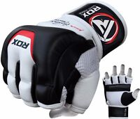 RDX Leather Gel Tech MMA Grappling Gloves Fight Boxing Punch Bag Training T3