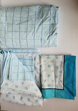 JC Penney Full Size Sheet Set Flat Fitted 1 Pillowcase Blue Turquoise White EUC