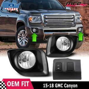 For GMC Canyon 15-20 Factory Bumper OE Style Fog Lights + Wiring Kit Clear Lens