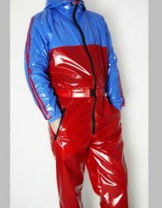 Glanznylon PVC shiny Overall Suit Regenoverall 5 Farben XS-5XL 6 mm FÜLLUNG