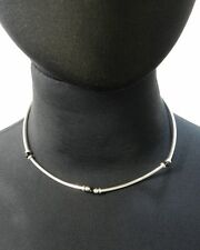 Onyx Bead and Sterling Silver Tube Necklace