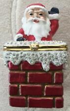 Santa Christmas Trinket Box Crystal Snow Topping the Chimney Top Opening   #66G