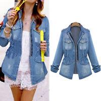 Women's Blue Jeans Denim Jacket Long Sleeve Fashion Trench Coat Outerwear Plus